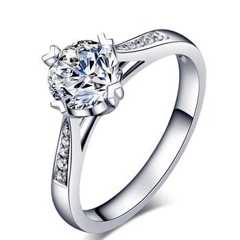 Sterling Silver Moissanite Zircon Engagement Ring  5