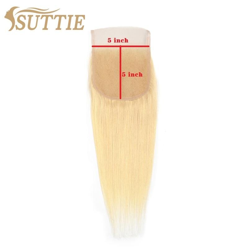 Suttie 613 rubia 4x3 4x4 5x5 De encaje cierre 12-20 pulgadas Rubio recto 100% de encaje de cabello humano cierre 1 Uds platino Remy extensión del cabello