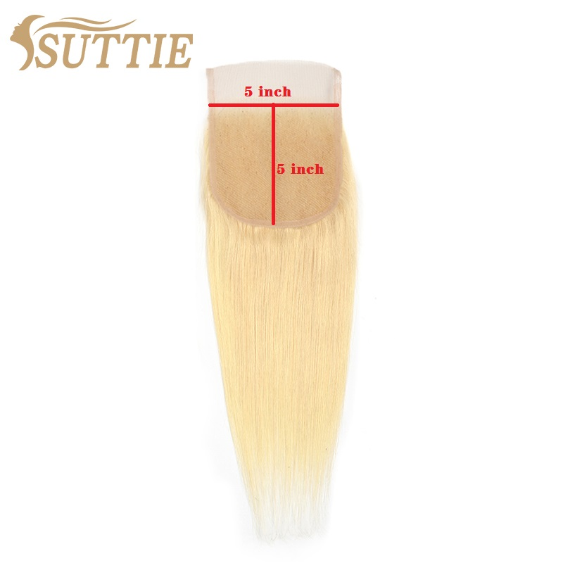 Suttie 613 sarışın 4x4 5x5 şeffaf dantel kapatma 13x4 Frontal 12-20 inç düz platin Remy insan saç uzatma kadınlar için