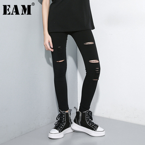 Image 1 - [EAM] High Waist Black Slim Trousers New Loose Fit Pencil Pants Women Fashion Tide All match Spring Autumn 2020 1A698