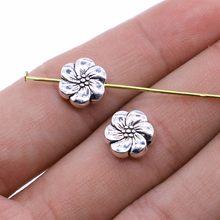 20 pçs/pçs/lote encantos contas de flores 10mm antigo cor prata diy artesanal artesanato para jóias fazendo acessórios