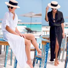2019 Sexy biała osłona do bikini Up szyfonowa plażowe stroje kąpielowe kobiety Cover-Up plaża sukienka koszula długie tuniki kąpiel pokrowiec na garnitur plaża tanie tanio Yimipher Poliester CN (pochodzenie) Stałe Pasuje prawda na wymiar weź swój normalny rozmiar Black White Sky Blue Simple