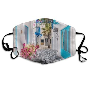 Santorini Greece Parks Greek Island Mediterranean Dust Mask Face Mouth Mask,Fashion Reusable Washable Outdoor Unisex Mask greek island city guide