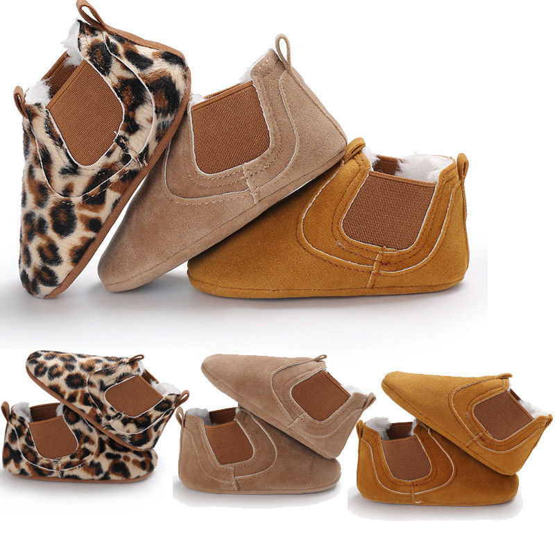 2019 Brand New Toddler Newborn Baby Boy Girl Leather Soft Sole Crib Shoes Sneakers Prewalker Leopard Solid Warm First Walkers