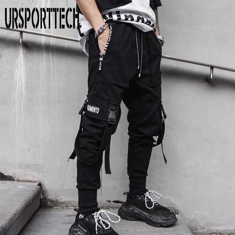 Yeni siyah kargo pantolon Hip Hop Joggers erkekler gevşek Harem pantolon çok cep şerit pantolon rahat Streetwear spor pantolonları erkekler için