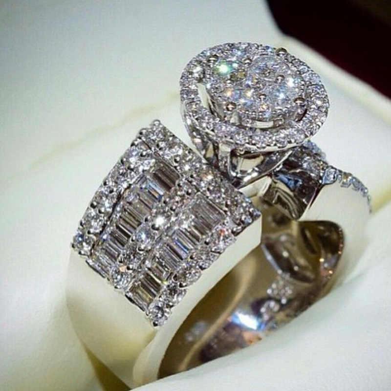 หรูหราหญิงรอบคริสตัลแหวนแฟชั่นเงิน 925 แหวนแหวนสำหรับผู้หญิง
