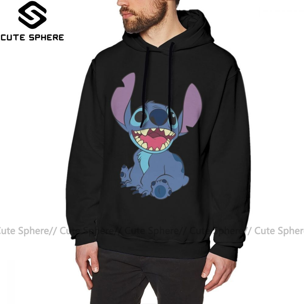 Lilo Stitch Hoodie Stitch Hoodies Streetwear Large Pullover Hoodie Popular Autumn Cotton Black Long Male Hoodies