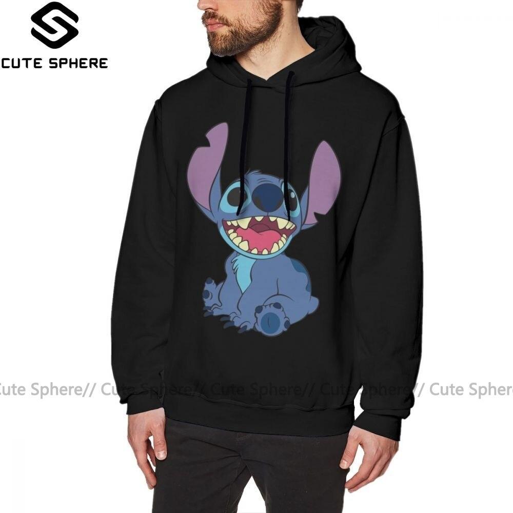 Lilo Stitch Hoodie Stitch Hoodies Streetwear Large Pullover Hoodie Popular Autumn Cotton Black Long Male Hoodies
