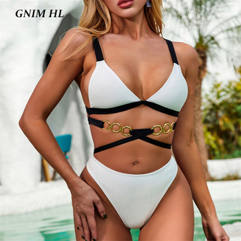 Bandage Swimwear Women Two Pieces Stitching Bikini Mujer 2020 Sexy Backless Swimsuit Female Two Pieces High Waist Bather Suit ms180 food vacuum sealer packaging machine including 10pcs bags kitchen vacuum food sealing machine food preservation packer