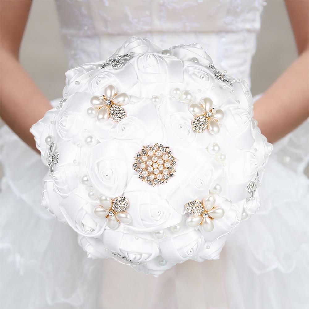 Bouquet de mariage fait main strass Bouquet de mariée Satin Rose Bouquet de fleurs avec des perles artificielles décorées fournitures de mariage