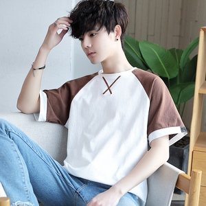 Image 2 - 여름 남성 t 셔츠 짧은 소매 7 남성 ulzzang 조수 느슨한 5 및 절반 슬리브 xueshengchao 브랜드 의류