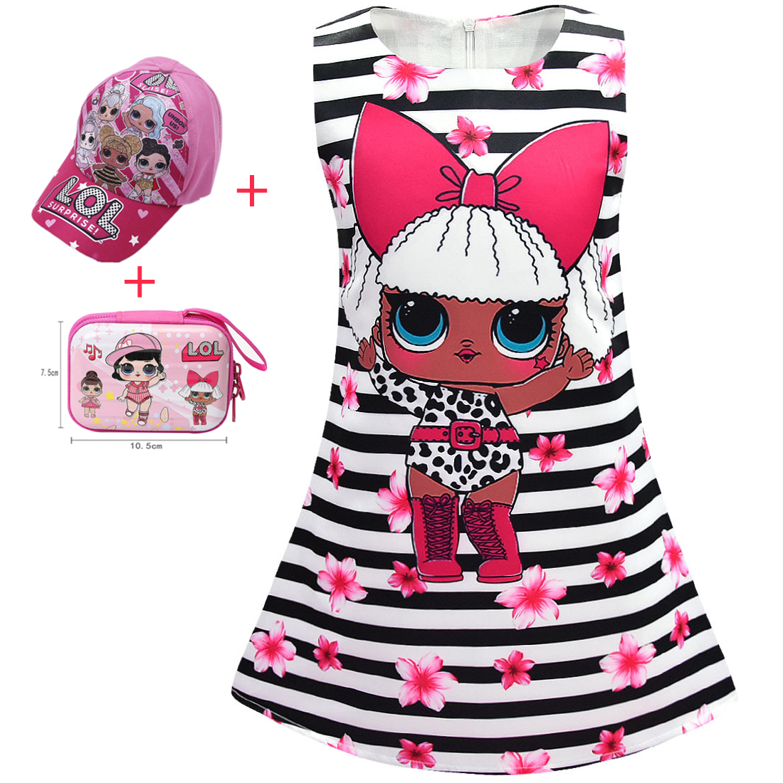 Kids Dresses For Girls Summer Cartoon Lol Dress Birthday Party Princess Dresses Toddler Baby Sleeveless Vestidos Dolls Clothes