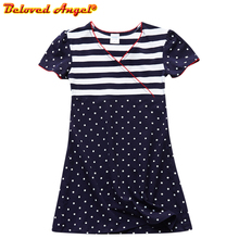 Girls Dress 100% Cotton Summer Print Children Dresses for Girls Designer Princess Party Dress Baby Costume Kids Party Wear 3-8Y new design embroidered flower navy blue baby kids girls princess dress kids summer party dress clothes 3 8y