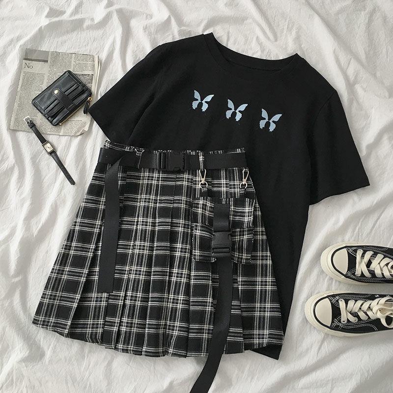 Женский Готический комплект из 2 предметов, черная Повседневная футболка с коротким рукавом и вышивкой бабочки и мини-юбка с высокой талией ...