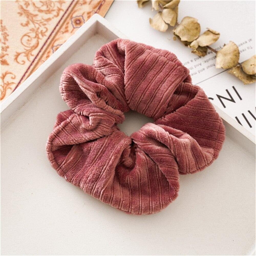 Новые рождественские золотые бархатные резинки для волос, прочные резинки для волос для девочек, резинки для конского хвоста - Цвет: Pink