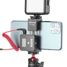 Ulanzi Soporte de teléfono ST 08 Rode, inalámbrico, con zapata fría, Clip de montaje para teléfono, luz LED, microphone, trípode de vídeo