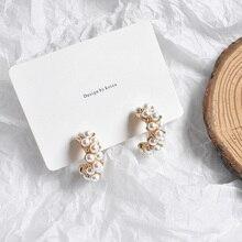 MENGJIQIAO 2019 New Vintage Japan Korean Hoop Earrings For Women Handmade Sweet Simulated Pearl Circle Jewelry Pendientes Gifts