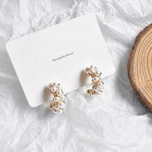 MENGJIQIAO-Pendientes de aro con perlas de imitación para mujer, aretes, círculo, estilo vintage, moda coreana, japonesa, hecho a mano, 2019