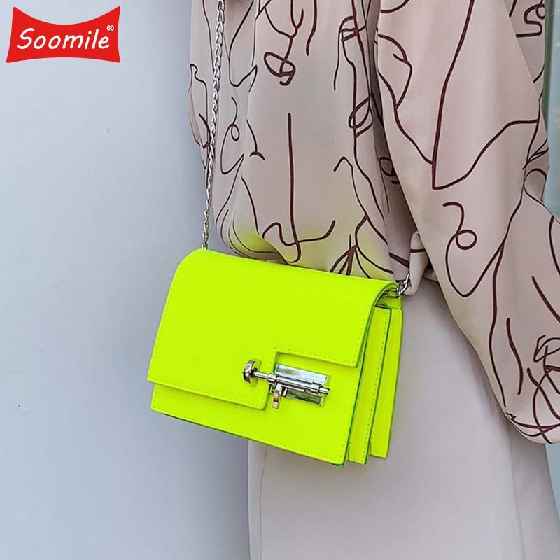 Модные простые сумки на цепи через плечо для женщин желтый зеленый PU кожа Сумка женская сумочка женские вечерние сумки-in Сумки с ручками from Багаж и сумки