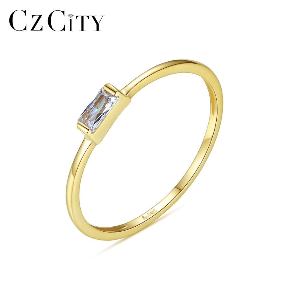 CZCITY Luxury Pure Gold Jewelry 14K Gold Rings for Women Engagement Wedding 585 Yellow Gold CZ Anillos De Ouro Pur Gifts R14146
