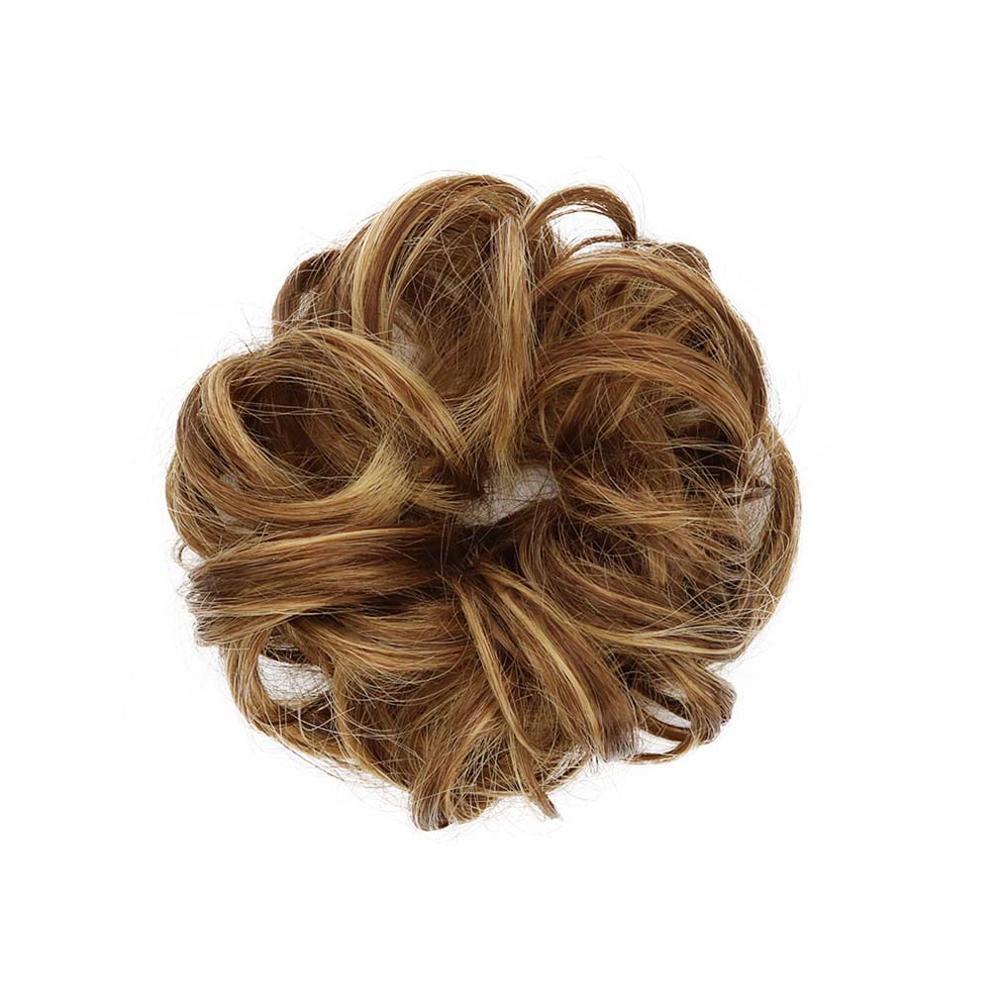 Mulheres loiras Bun Cabelo Postiço Cheveux Encaracolado Sintético Chignon 6 ''Pães de Cabelo Fibra de Alta Temperatura Haar Nó 16 Clolor