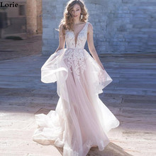 Lorie Wedding Dress A Line Elegant Light Pink Bride Dresses Boho With Pearls Custom Made Gown Plus Size