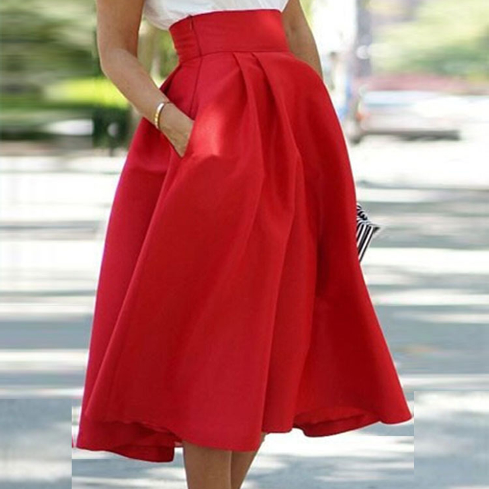 Summer Women's Solid Pleated Long Skirt Elegant High Waist A Line Street Flared Skirt With Pocket Pleated Midi Skirts New Hot