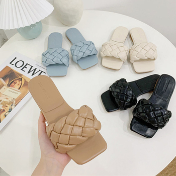 Chic Women Slippers 2020 Hot Weave Flat Shoes Fashion Leisure Blue Beach Shoe Charm Office