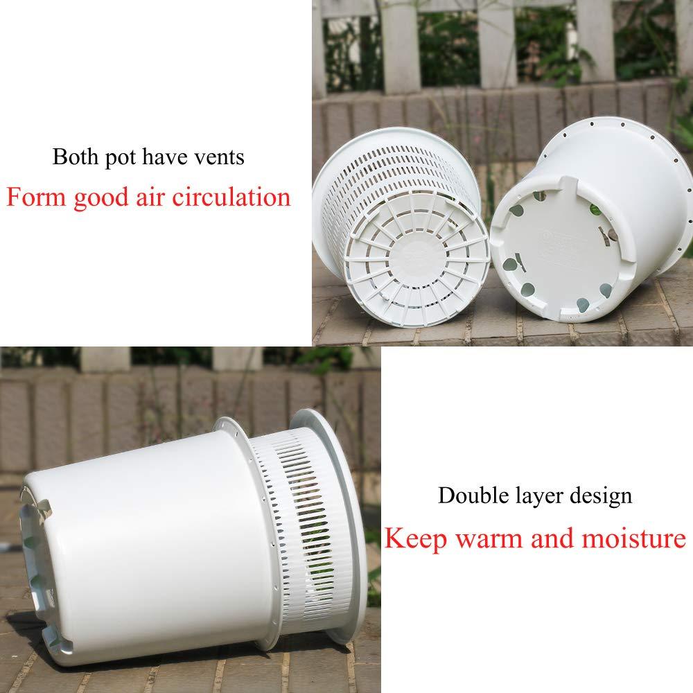 Image 4 - Meshpot 16 センチメートルプラスチック蘭の鉢穴ルート制御空気孔プランター 内釜、外鍋、トレイフラワーポット & プランター   -