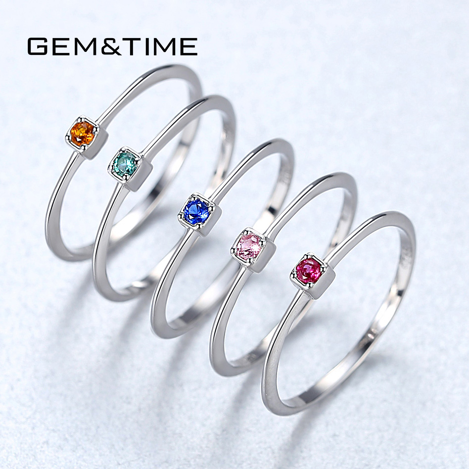 Gem&Time Created Emerald VVS Bague Rings 925 Sterling Silver Stackable Ring For Women Green Gemstone Joyas De Plata 925 Mujer
