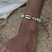 цены на Lacteo Vintage Natural Stone Bracelet Bangle for Women Statement 2019 Fashion Golden Alloy Sea Shell Bracelet Female Jewelry  в интернет-магазинах