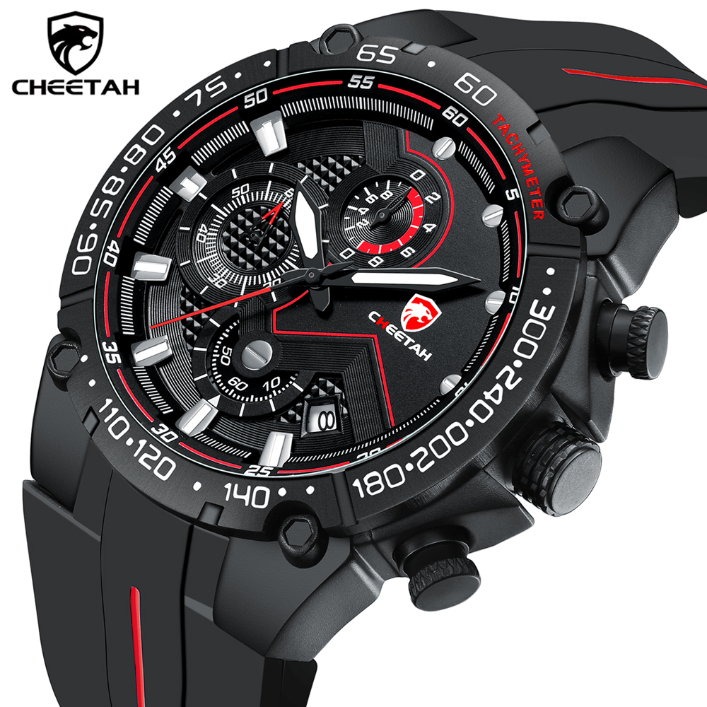 Top Brand CHEETAH Men Watch Casual Business Wristwatch Fashion Luxury Silicone Strap Sports Waterproof Clock Relogio Masculino