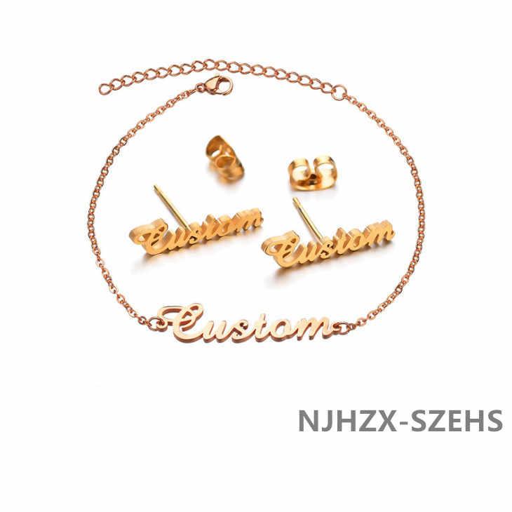 תכשיטי תכשיטי סט, תכשיטים סט מכתב עגיל צמיד יופי נשים NJHZX