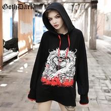 Goth Dark Print Loose Grunge Punk Gothic Sweatshirt Harajuku Autumn 2019 Hoodies Longsleeve Aesthetic Strap Fashion Patchwork