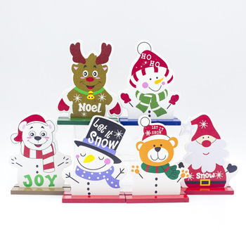Christmas Decoration for Home Desk Ornament Santa Claus Snowman Bear Dog Merry Christmas Tree Wooden Craft Cartoon Navidad 2020 image