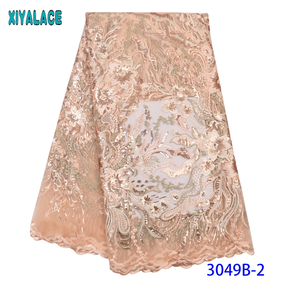 Latest African Laces 2019 Sequin Lace Fabric French Embroidered Net Lace Fabric Hot Sale Sequence Laces Fabrics KS3049B