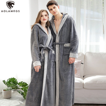 Aolamegs Men Robe Big Pockets Flannel Hooded Night Gown Sleepwear Cozy Warm Advanced Baggy Pregnant Long Bathrobe Couple Pajamas