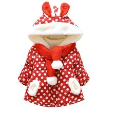 NEW Kids Baby Clothes 1-5T Girl Boys Hooded Down Jackets With Scarf Casual Dot Pattern Windproof And Warm Children\'s Down Coat(China)