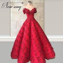 Saoedi arabi Ë 2020 Avondjurk Puffy Mouwloze Party Gown Kaftans Aanpassen 2020 Rode Bloem Prom Dress Robe De Soiree