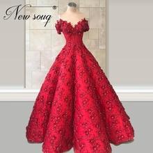 Saudi arabien 2020 Formale Abendkleid Puffy Ärmel Party Kleid kaftans Anpassen 2020 Rote Blume Prom Kleid Robe De Soiree