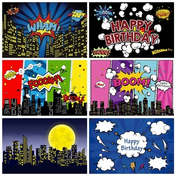 Baby Kid Birthday Backdrop Photography Comics Superhero Birthday Party Photocall For Family Celebration Poster Photo Backgrounds balloons birthday party ribbons family shoot poster baby portrait photo backgrounds photography backdrops photocall photo studio