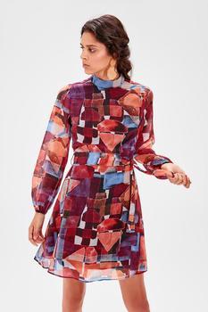 Vestido multicolor manga larga gasa 1