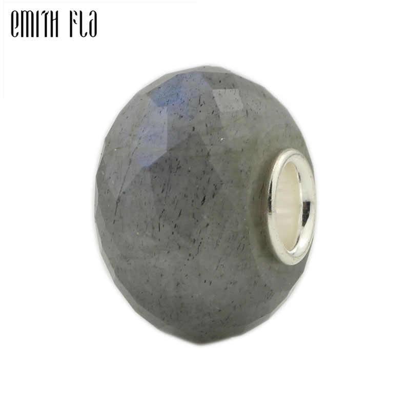 แฟชั่น Charms เงิน 925 เงินสเตอร์ลิงหินธรรมชาติ Charm ลูกปัดพอดีกับกำไลยุโรปเครื่องประดับขนาดใหญ่