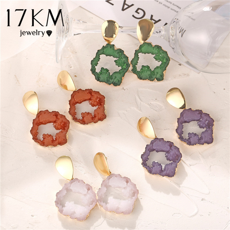 17KM Bohemian Resin Stone Drop Earrings For Women Mix Colors Fashion Resin Stone Alloy Dangle Earring Vintage 2020 Jewelry