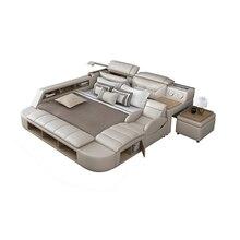 Натуральная кожа многофункциональный массаж кровать каркас современный Nordic camas ultimate кровать с хранилищем LED свет Bluetooth динамик сейф