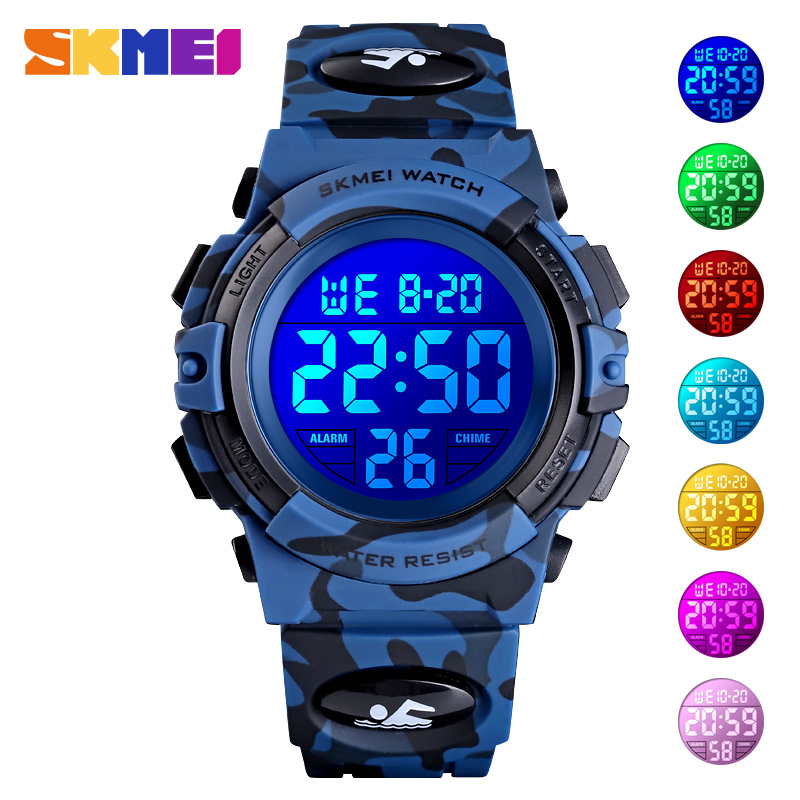 <font><b>SKMEI</b></font> Fashion Kids Watches Sport Children Watch 5bar Waterproof Colorful Lights Hour Camouflage relogio infantil Boy Wristwatch image