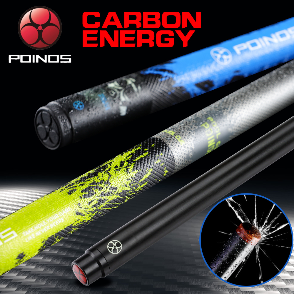 POINOS Carbon Fiber Technology Pool Cue Stick Billiard Cue 3 Colors 13mm Hell Fire Tip High-Quality PU Wrap Bullet Joint 2019