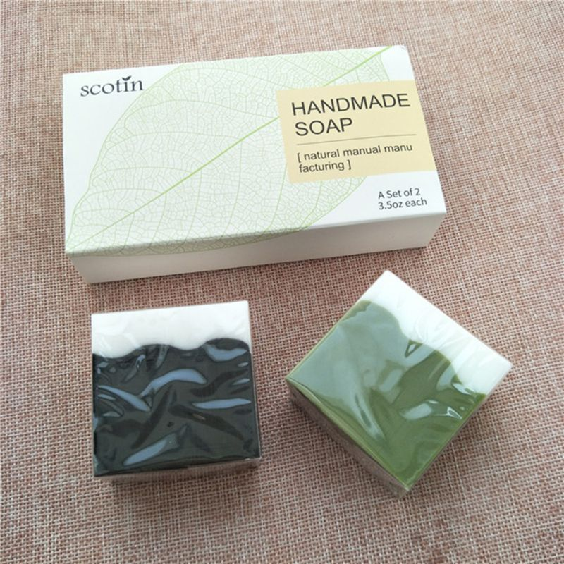 2Pcsx100g Bamboo Charcoal + Matcha Facial Handmade Soap Cleanser Blackhead Remover Acne Treatment Oil Control Whiten Skin Care