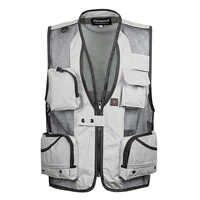 Chaleco de malla delgada de verano para hombre, ropa de trabajo informal para XL-5XL, para fotógrafo, chaleco con múltiples bolsillos, chaqueta sin mangas