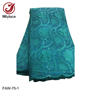 New Coming Nigerian Lace Applique Fabric African Beads and Sequin Lace Fabric French Mesh Lace Fabric for Party FAW-75